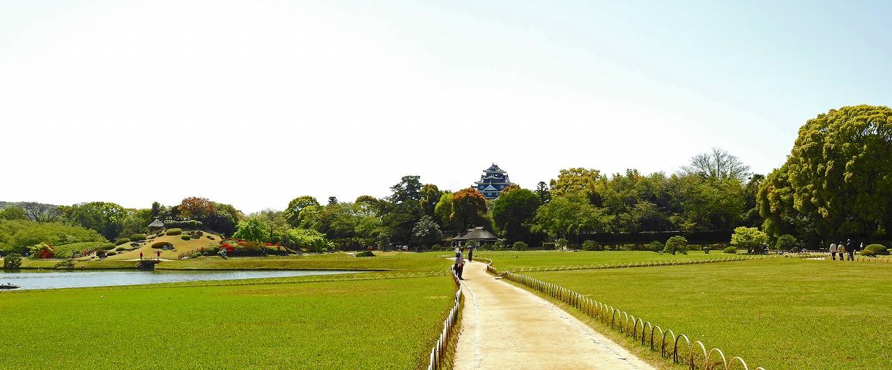 20180413 後楽園今日の園内入口付近から眺めたキリシマツツジの見えるワイド風景 (1)
