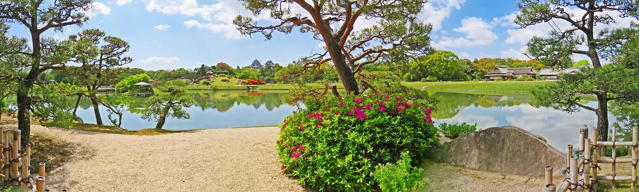 20180418 後楽園今日の観光定番位置から沢の池越しに眺める園内ワイド風景 (1)