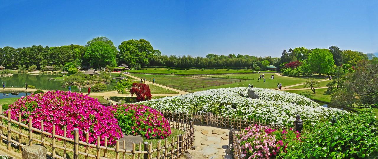 20180421 後楽園今日の唯心山唯心堂から眺めた園内ワイド風景 (1)