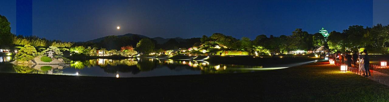 20180430 後楽園春の幻想庭園満月の夜の沢の池越しに眺めたワイド風景 (1)