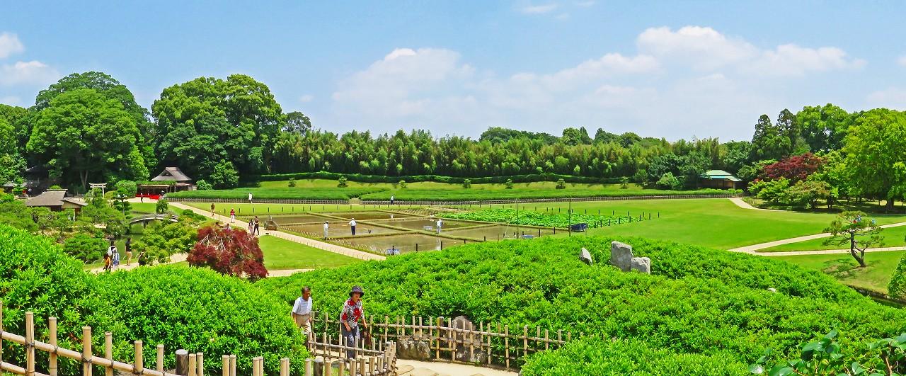 20180609 後楽園今日の園内井田の田植え祭の準備の様子唯心堂から眺めたワイド風景 (1)