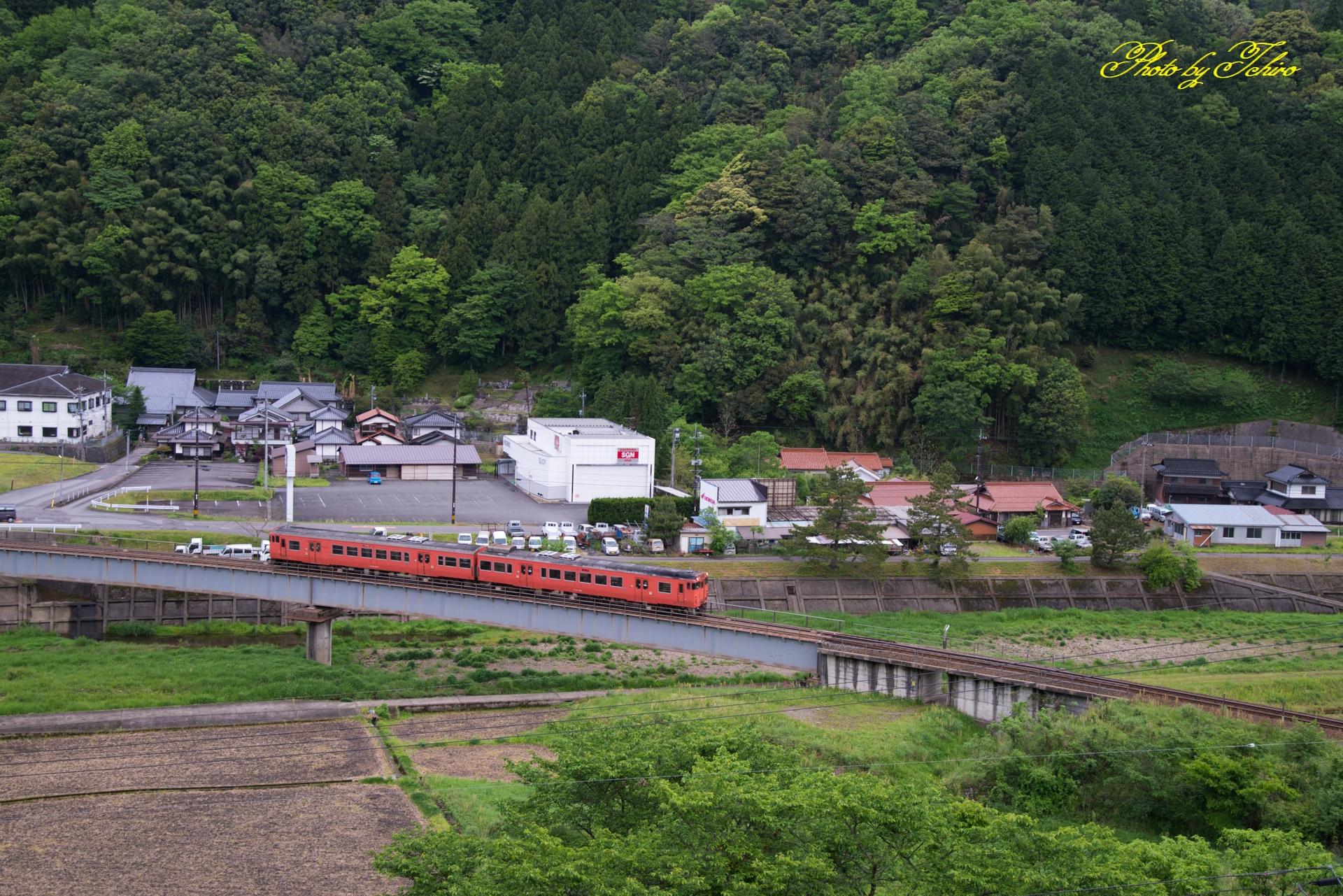 新緑と津和野川を渡るキハ40系