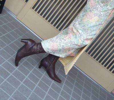 着物とブーツ