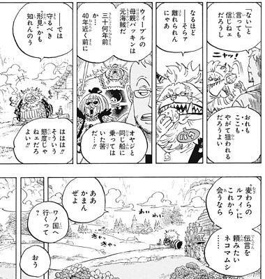 ワンピース909話ネタバレ感想(9) ウィーブルとバッキン