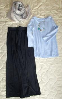 無印良品七分袖Tシャツとユニクロワイドパンツ春コーデm (2)