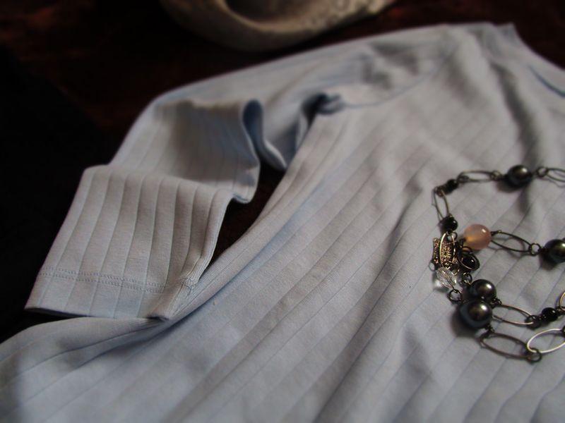 無印良品オーガニックコットン混ワイドリブボートネック七分袖Tシャツ