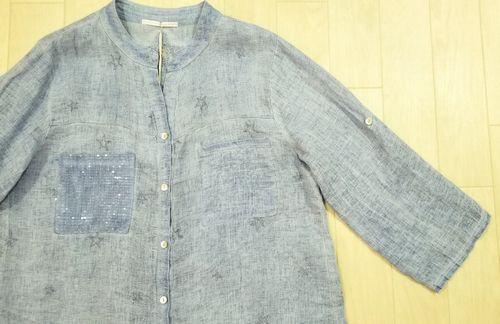 ブルーリネン刺繍入りシャツ2-2