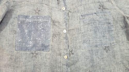 ブルーリネン刺繍入りシャツ4