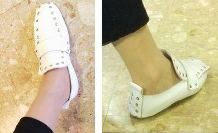 245㎝の靴 ドット白4