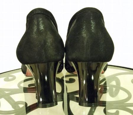 245㎝の靴 ヒートカット黒パンプス3