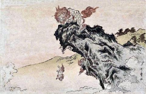 獅子の子落とし:浮世絵(喜多川歌麿)