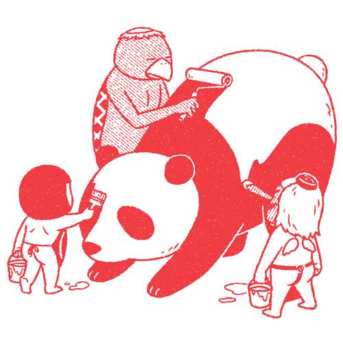 パンダに色塗り:天狗とカッパと金太郎-八重樫王明(やえがしきみあき)さんの作品