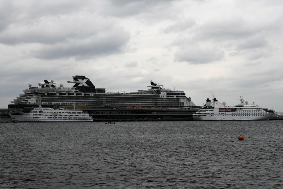 大桟橋に停泊する客船たち