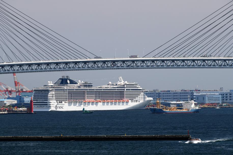 大桟橋から見るMSC スプレンディダ 1