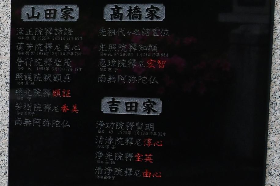 髙橋 政知 墓誌