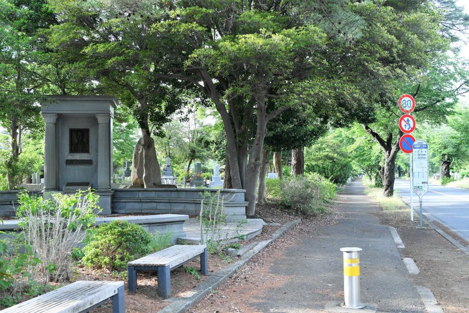 霊園内 一般道 バス停前