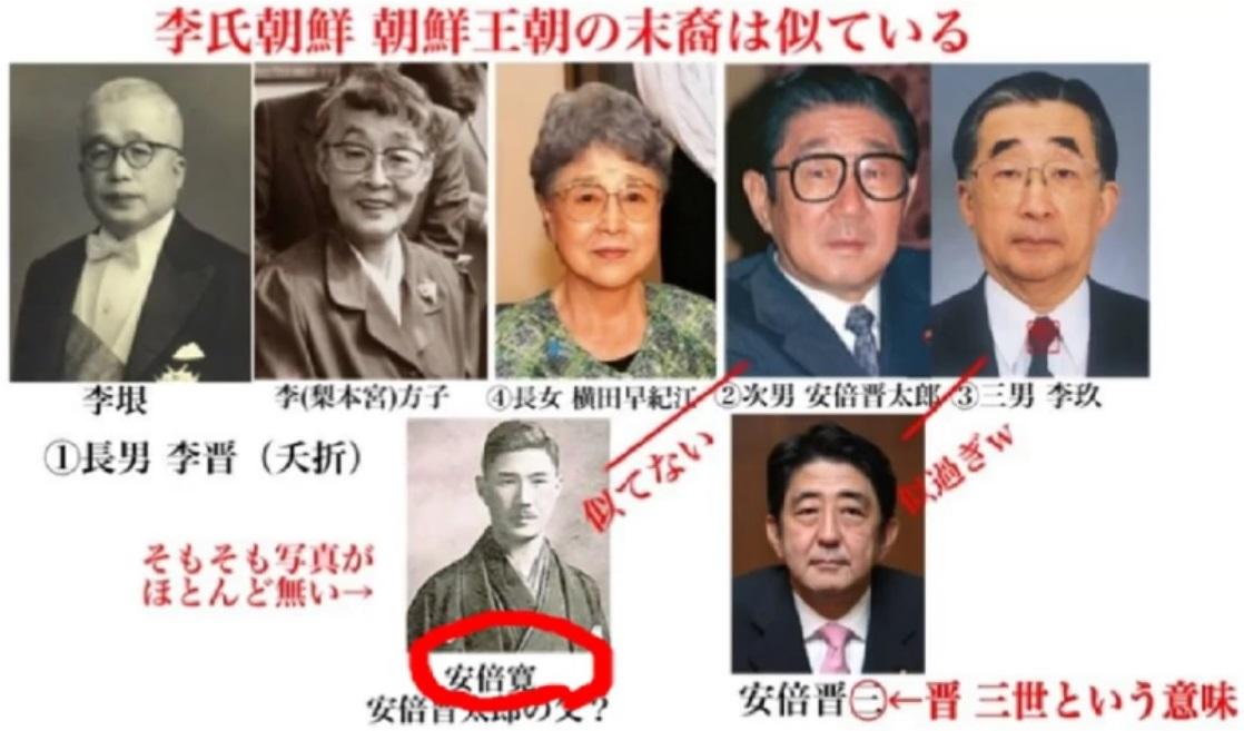 安倍晋三は李氏朝鮮王族と似てる