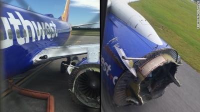 【衝撃!】米国サウスウェスト航空エンジン破損で緊急着陸の機内衝撃映像!