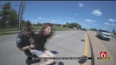 【衝撃!】逃げる女性の容疑者にパトカーで体当たり・・・