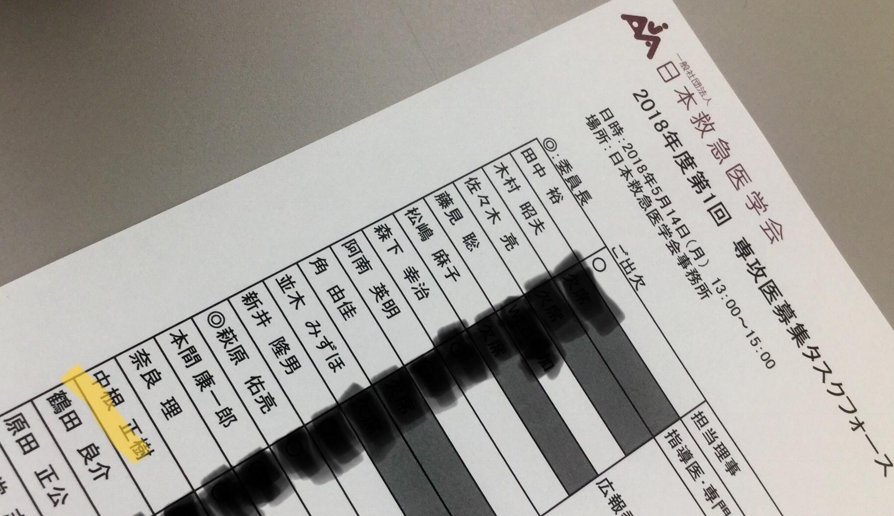 救急医学会専攻医募集タスクフォースメンバー20180514