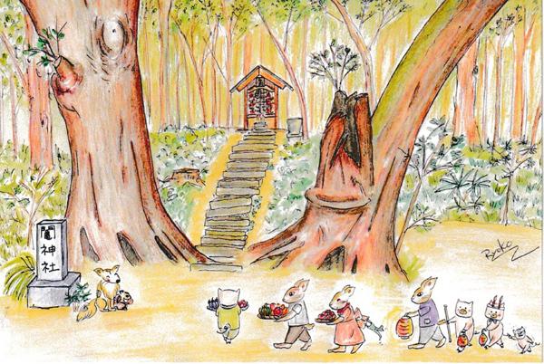 色鉛筆で描いた鬮神社の絵はがき