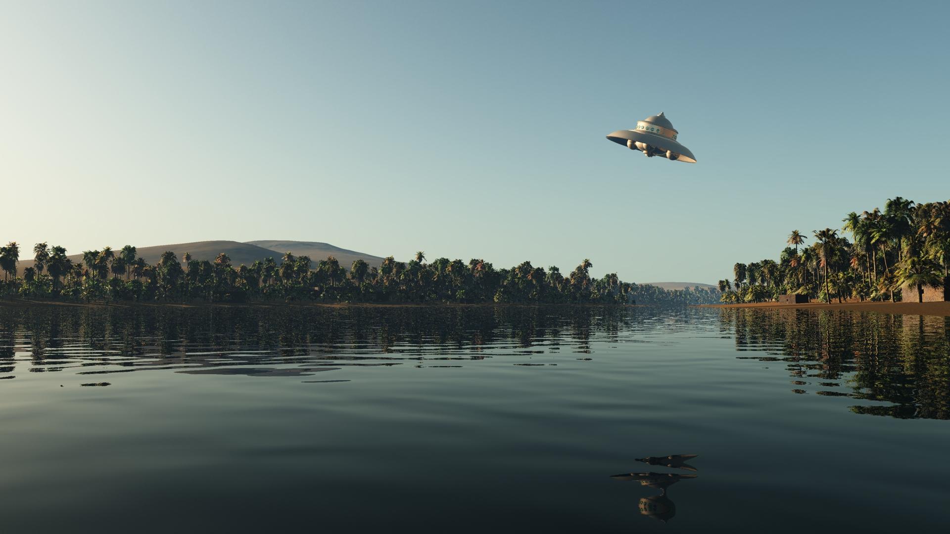 湖面上のUFO