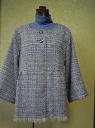 綿混ツイードでジャケット180623