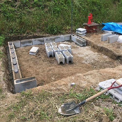 一人で作るブロック小屋① ~小屋の基礎をつくる~⑪