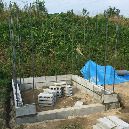 一人で作るブロック小屋② ~鉄筋位置の補正~⑨