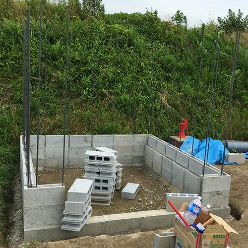一人で作るブロック小屋② ~鉄筋位置の補正~⑫