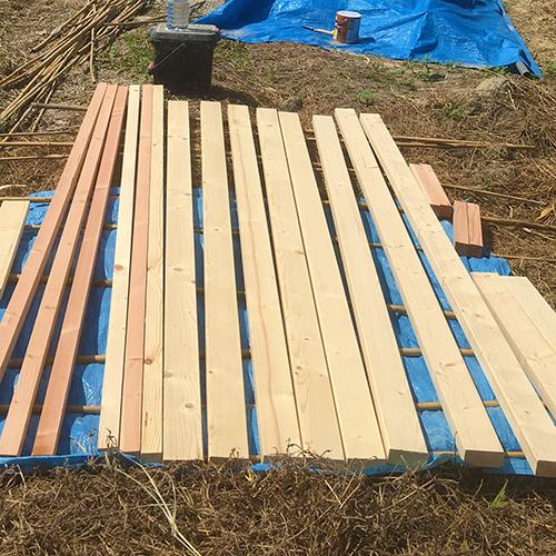一人で作るブロック小屋⑤ ~屋根の骨組み~④