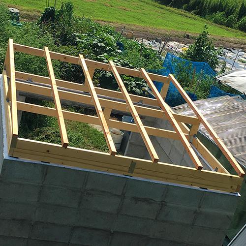 一人で作るブロック小屋⑤ ~屋根の骨組み~⑫