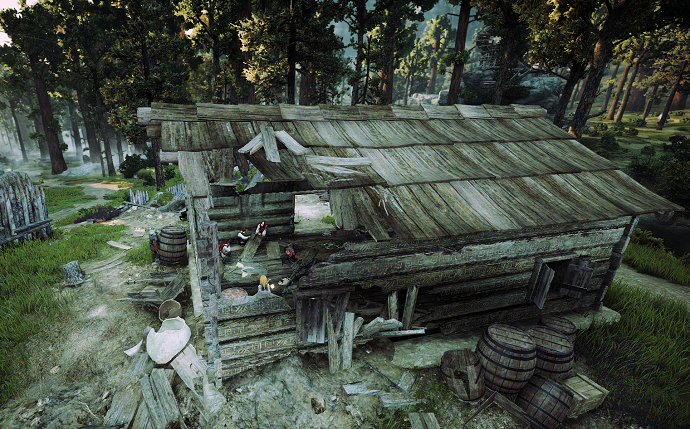 01崩れた小屋と兵士達