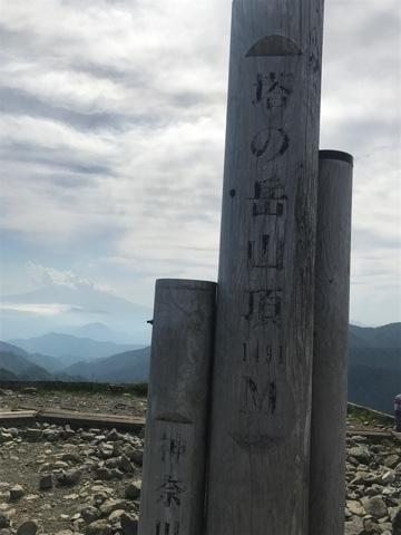 塔の岳標識