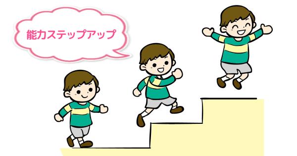 階段を一歩ずつ上ってステップアップしていく子ども