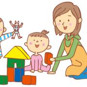 積み木で一緒に遊ぶ親子