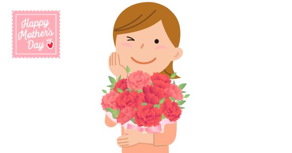 カーネーションの花束を抱えるお母さん