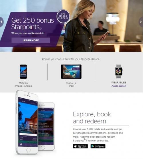 スターウッド モバイルアプリ チェックインのキャンペーン 250ボーナススターポイント