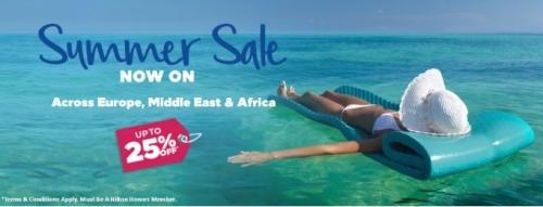ヒルトンホテル 中東・アフリカを対象としたセール25%OFFを開始します。