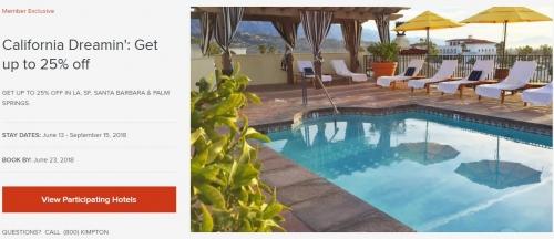 IHGリワードクラブ カリフォルニアの Kimpton Hotelsを対象に25%OFF