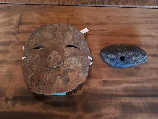 ウズメの面と石笛「海皇」