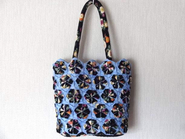 花バッグ和柄黒×水色1