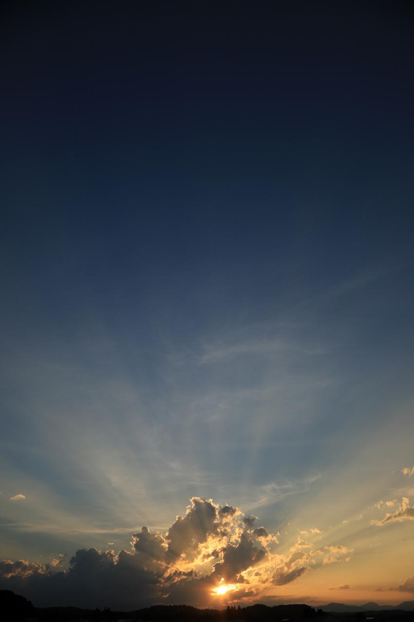 20180702薄明光線と夕陽