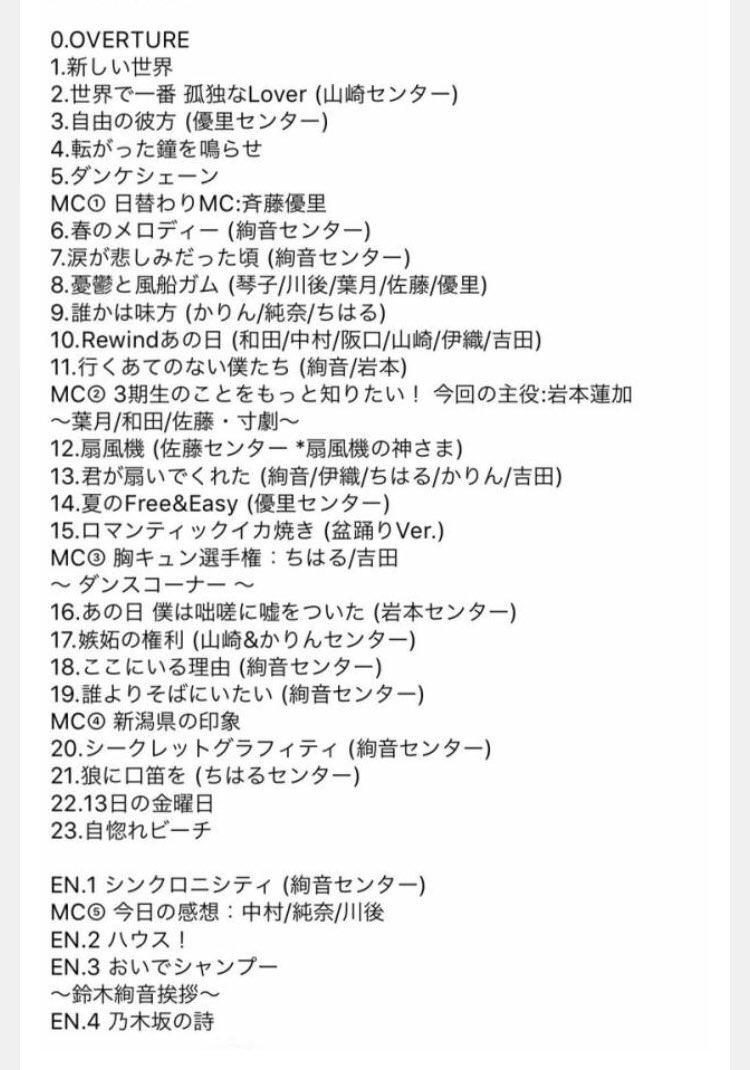乃木坂46「アンダーライブ全国ツアー2018」新潟公演セットリスト