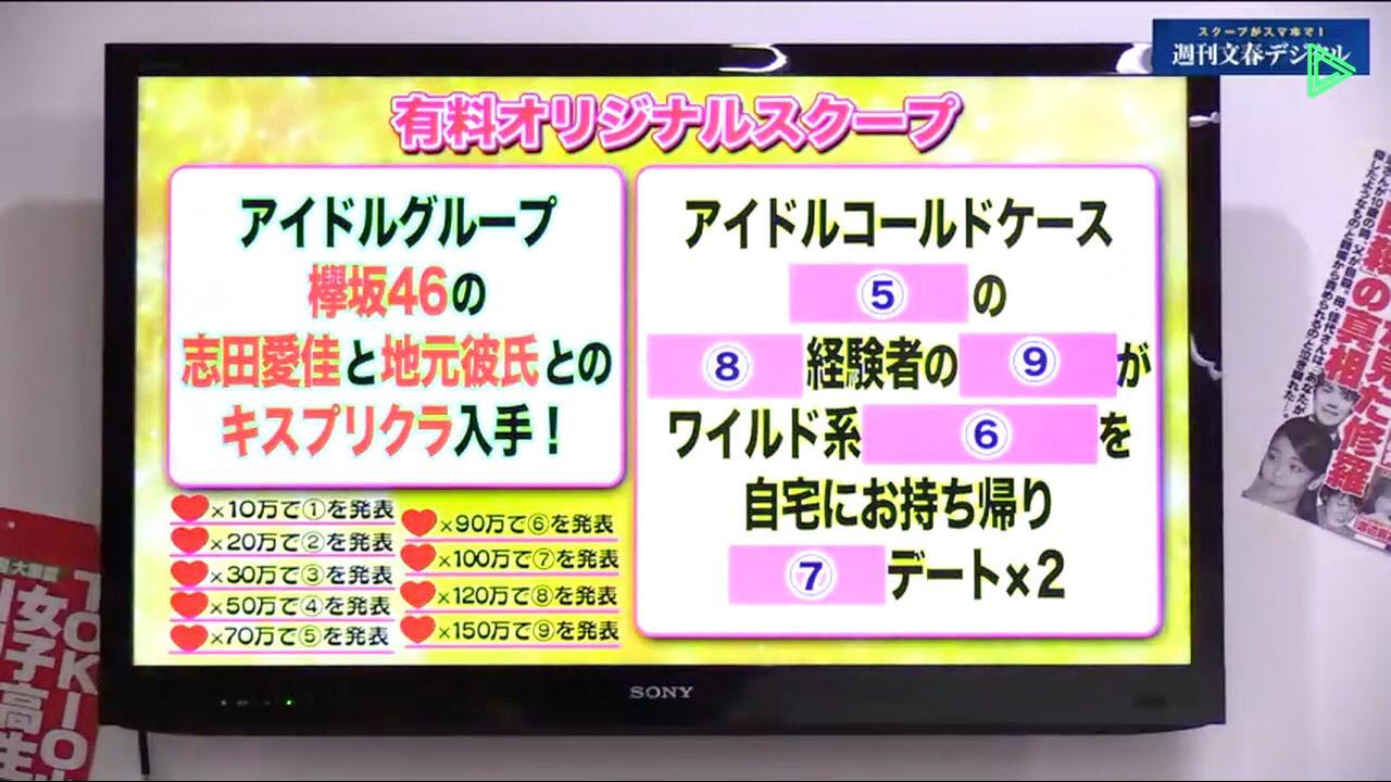 週刊文春ライブ「 欅坂46の志田愛佳と地元彼氏とのキスプリクラ入手!」