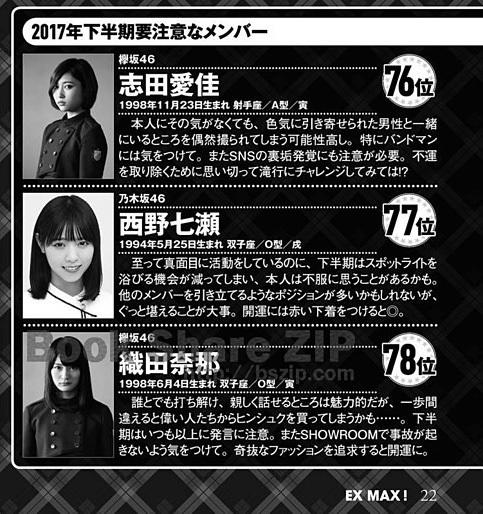 エキサイティングマックス!2017年9月号 坂道シリーズ下半期運勢ランキング!!