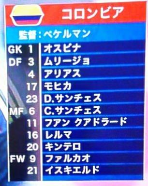 ロシアW杯 コロンビア代表スタメン 日本戦