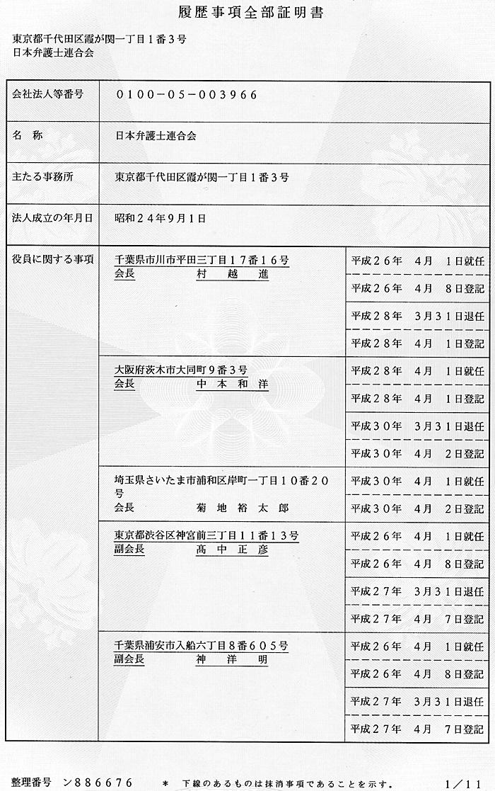 日本弁護士連合会 日弁連 代表事項証明書