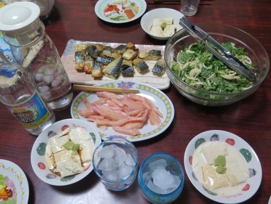 サバ、山菜サラダ、湯葉、岩下の新しょうが