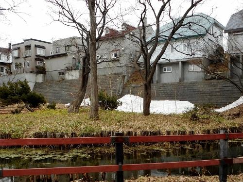 八紘学園 花菖蒲園近くの池 擁壁